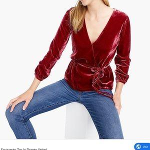 Faux wrap top in draped velvet.